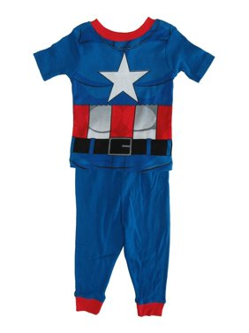 Marvel Little Boys Blue Captain America Cotton Short Sleeve 2 Pc Pajama