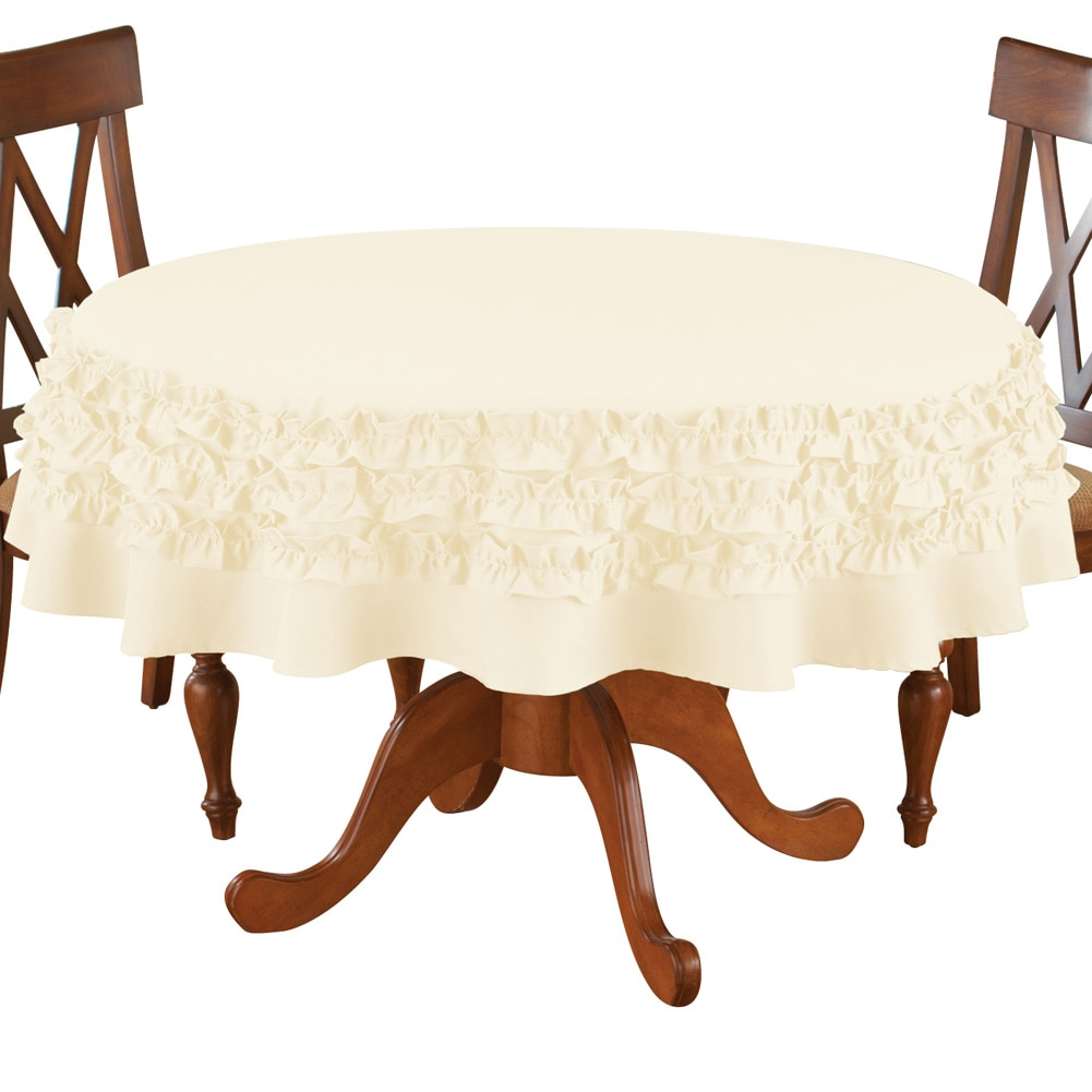 Solid Ruffle Round Elegant Fabric Tablecloth, Ivory