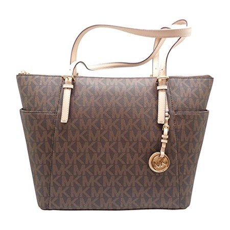 Michael Kors Women S Jet Set Item East West Tz Tote Mk Signature Pvc Brown