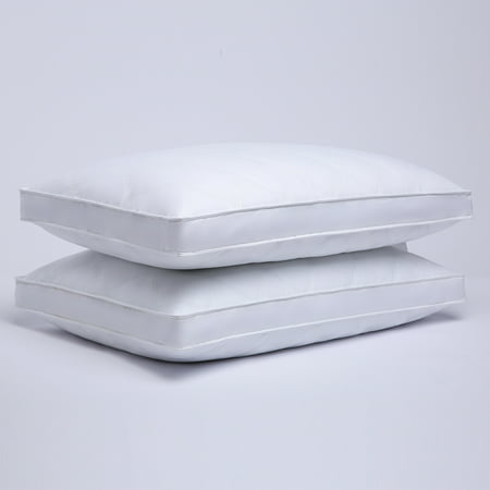 Puredown Quilted Gusseted Feather and Down Pillow with 100% Cotton Cover - Set of 2, Standard/Queen