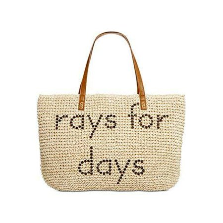 NWT Style & Co. Women's Rays for Days Straw Shopper Tote Handbag, - Beige Tote Bag