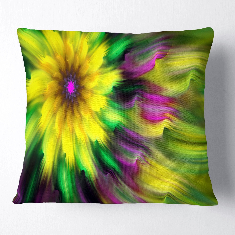 Design Art Designart Dance Of Yellow Exotic Flower Floral Throw Pillow Walmart Com