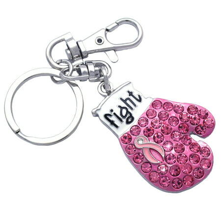 cocojewelry Pink Ribbon Fight Boxing Glove Breast Cancer Awareness Keychain