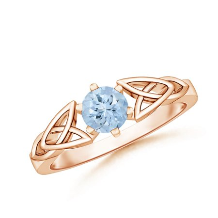 March Birthstone Ring - Solitaire Round Aquamarine Celtic Knot Ring in 14K Rose Gold (5mm Aquamarine) - SR0652AQ-RG-AA-5-7