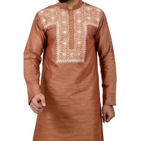 Indian Traditional Cotton Silk Light Brown Kurta Pajama for Men. This product is custom made to order. - image 2 de 6