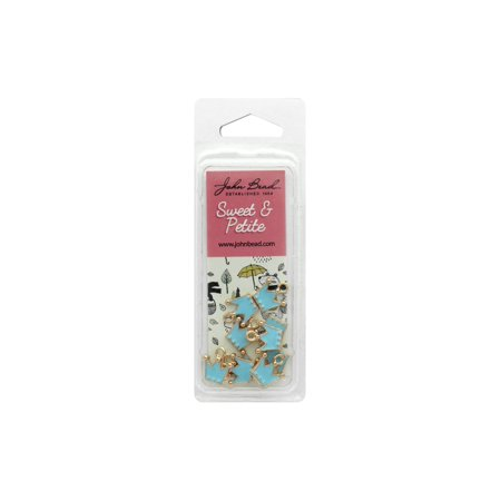 JBE32640464 8 JOHN BEAD SWEET PETITE CHARM CROWN LT BLUE 10PC