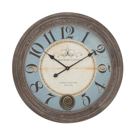 Decmode Coastal 27 Inch Beveled Chinese Fir Wood Wall Clock, Blue ()