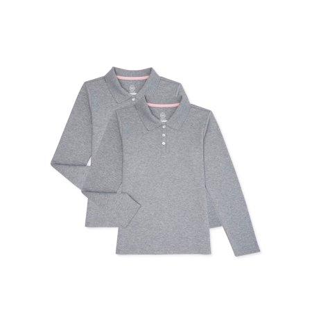 Wonder Nation Girls School Uniform Long Sleeve Interlock Polo Shirt, 2-Pack Value Bundle, Sizes 4-18