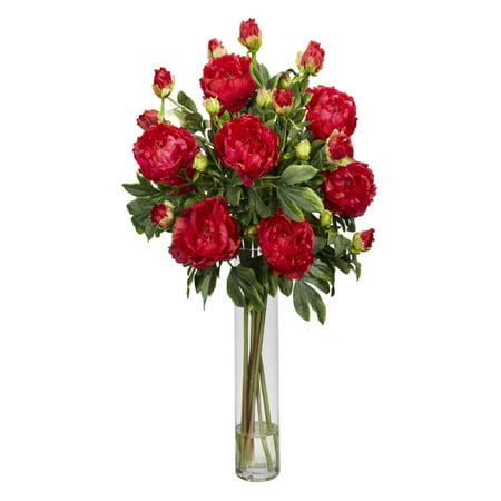Peony with cylinder silk flower arrangement red walmart peony with cylinder silk flower arrangement red mightylinksfo