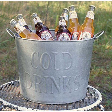 Wonderful Galvanized Embossed Classic Cold Drinks Tub with Handles](Tin Buckets)