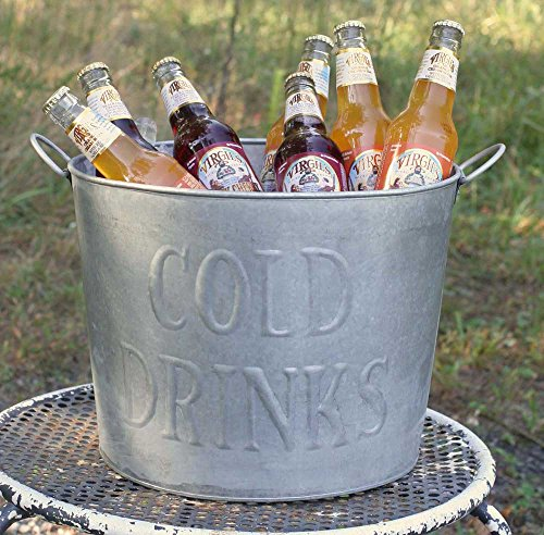 Wonderful Galvanized Embossed Classic Cold Drinks Tub with Handles
