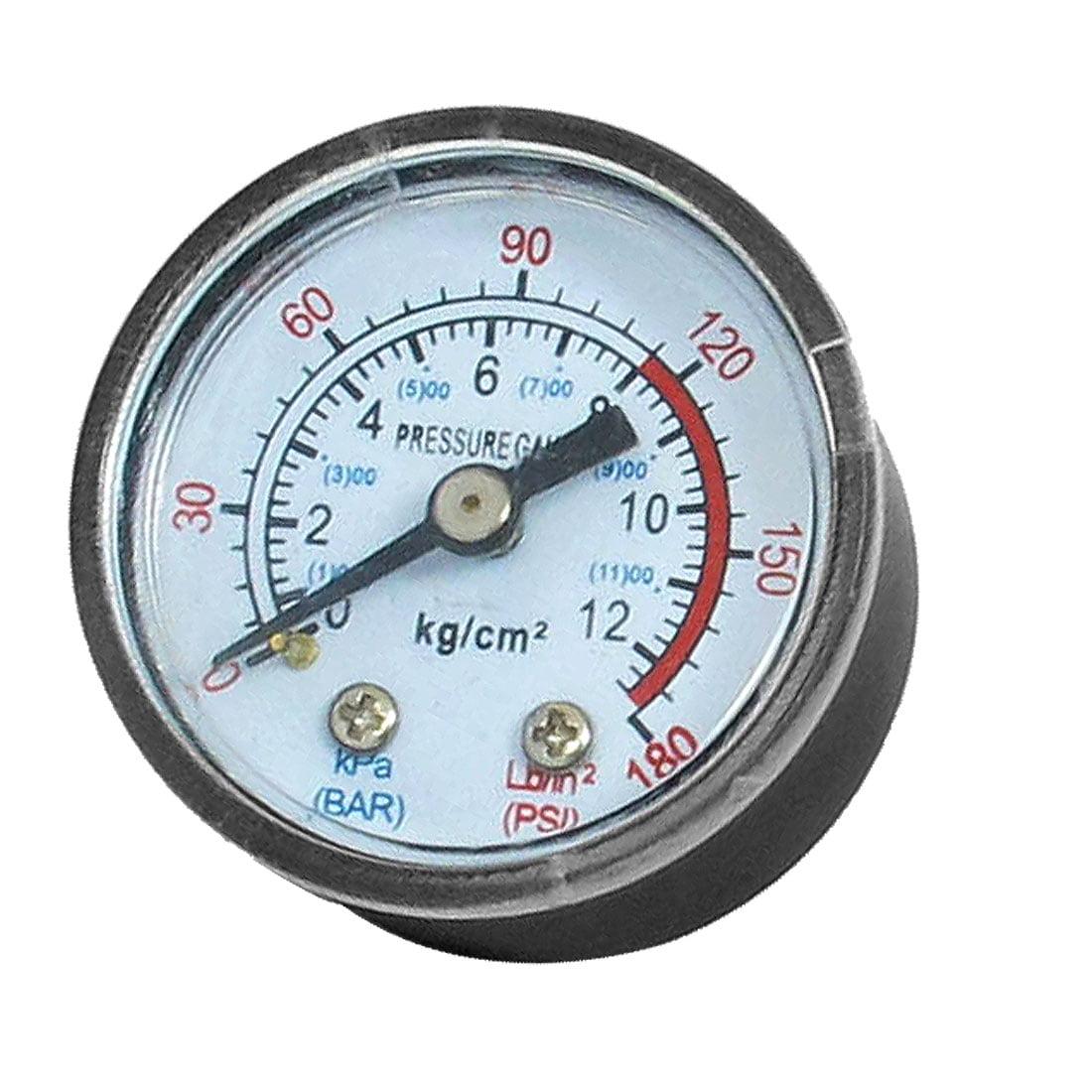 Unique Bargains 1/8BSP Air Compressor Hydraulic Back Mount Pressure Gauge 0-180 PSI