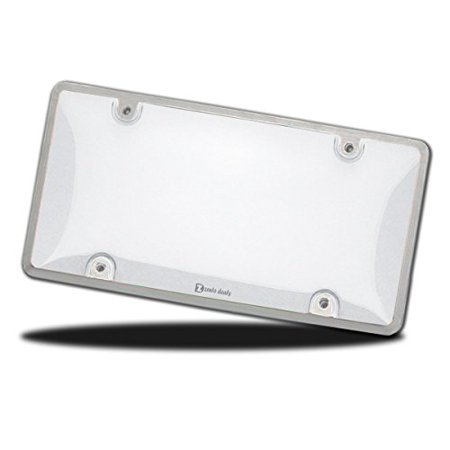 Zento Deals Heavy-Duty All Waether Clear Bubble Design License Plate Shield -Fits All Standard 6x12 Inches Novelty/License Plates- Unbreakable License Plate Cover