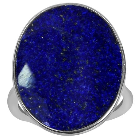 9.50 Carat T.G.W. Lapis Sterling Silver Large Oval Shape Gemstone Ring Oval Shape Amber Ring