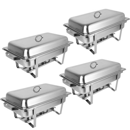 Ktaxon Rectangular Chafing Dish Stainless Steel Full Size 4 Pack of 8 - Chafing Dish Holder