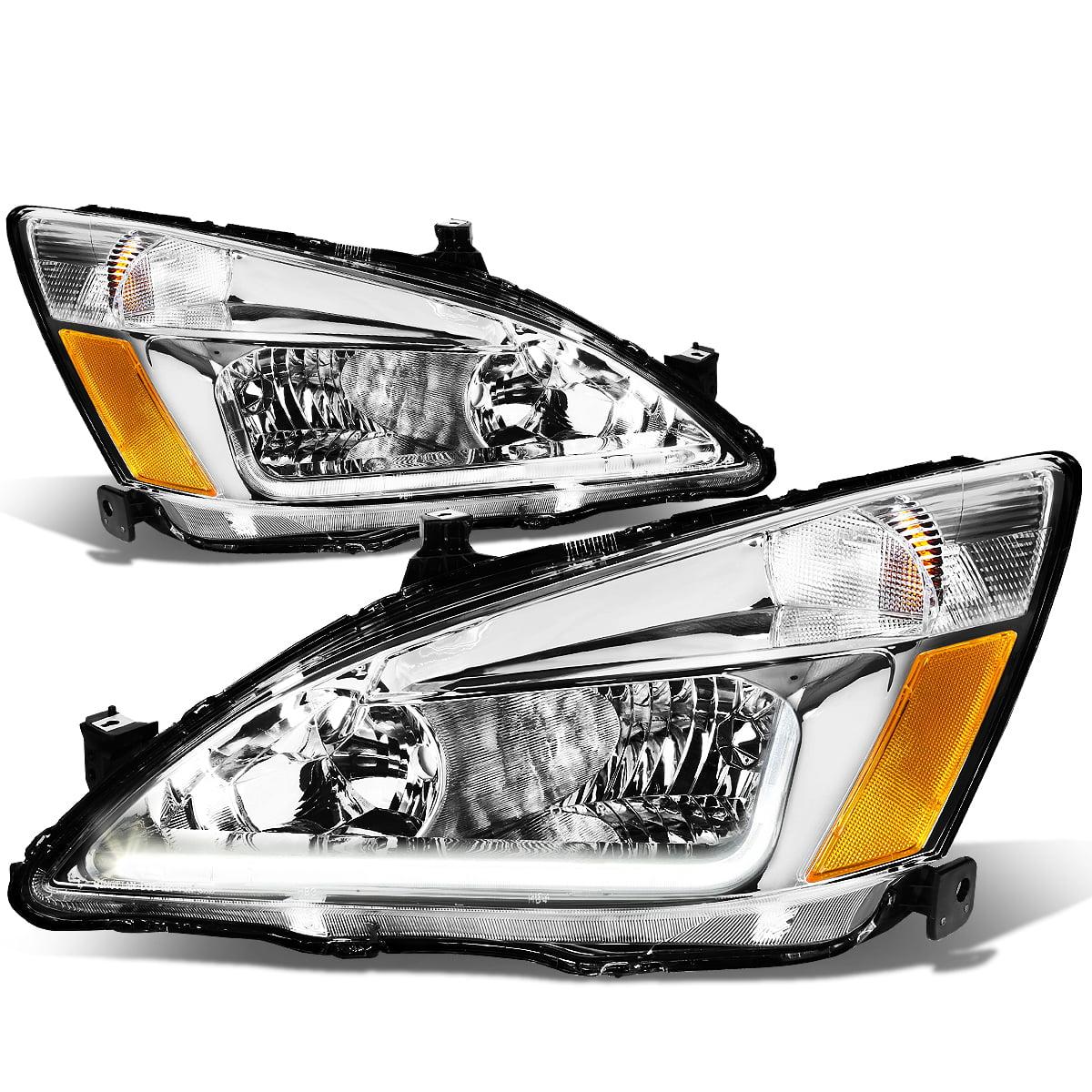 For 2003 To 2007 Honda Accord Led Drl Light Bar Headlight Chrome Housing Amber Corner Headlamp 04 05 06 Left Right Walmart Com Walmart Com
