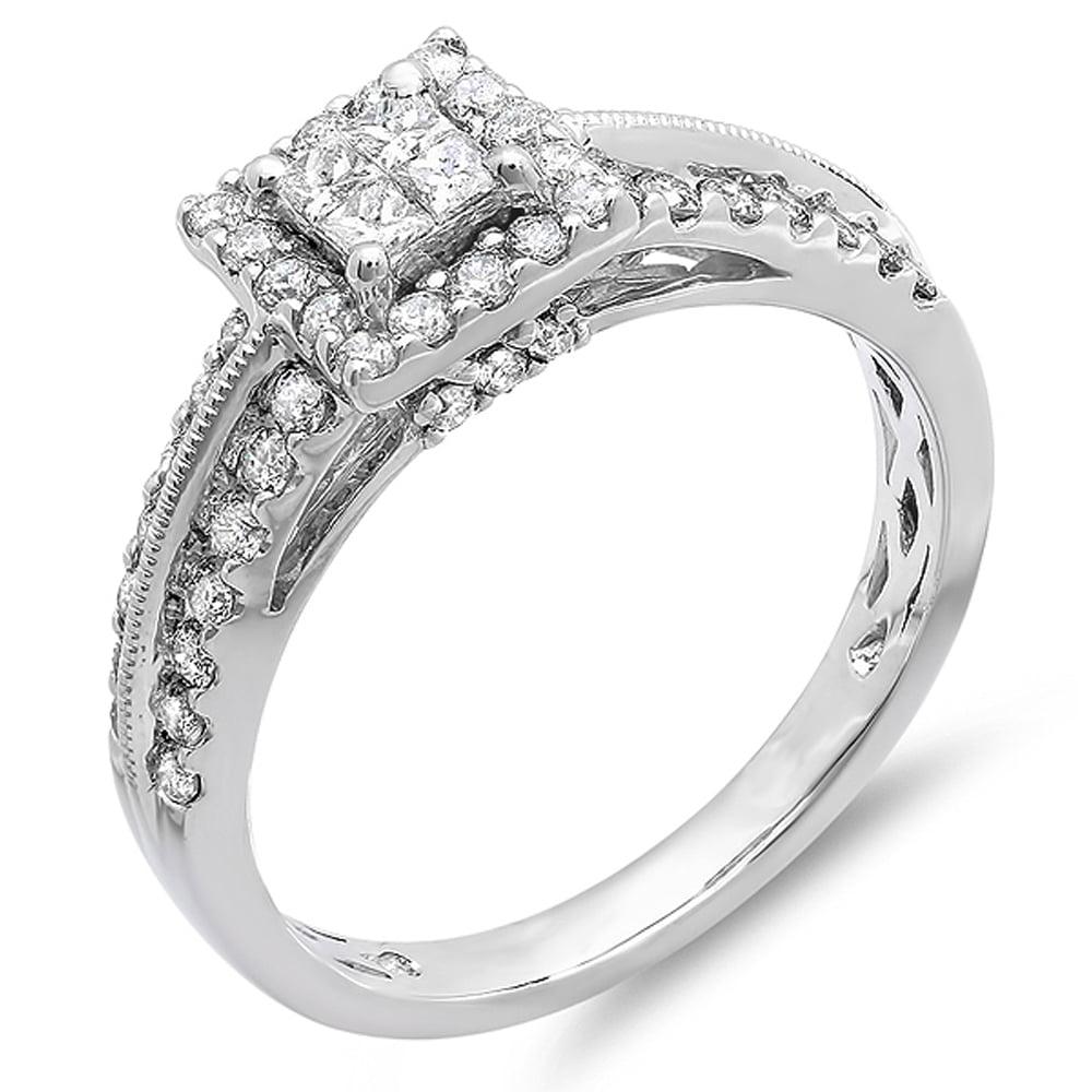 1.00 Carat (ctw) 10K White Gold Princess & Round Cut Diamond Ladies Bridal Engagement Ring 1 CT