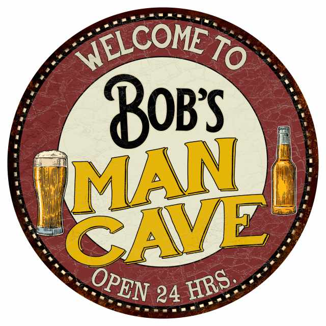 """Bob's Man Cave 14"""" Round Metal Sign Kitchen Bar Red Wall Décor MR14129005"""