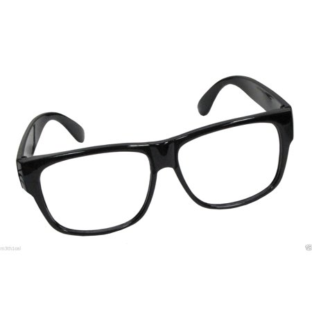 Black Frame Nerd Retro Hipster Frames Glasses No Lens Lense Costume (Justice Fake Glasses)