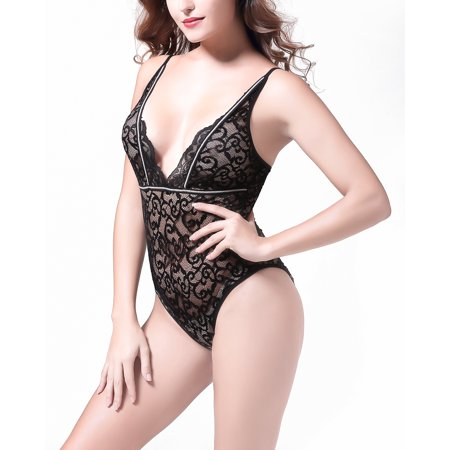 - Sexy Teddy Lingerie for Women Onepiece Halter Bodysuit with Bean Flower Lace and Strappy Trim,Black Small