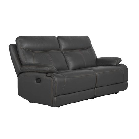 """Classic Upholstered 74.4"""" inches Recliner Loveseat Sofa (Grey)"""