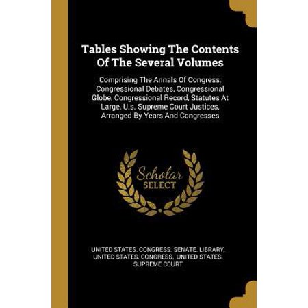 Tables Showing The Contents Of The Several Volumes : Comprising The Annals Of Congress, Congressional Debates, Congressional Globe, Congressional Record, Statutes At Large, U.s. Supreme Court Justices, Arranged By Years And (Supreme Court Debates A Pro & Con Monthly)
