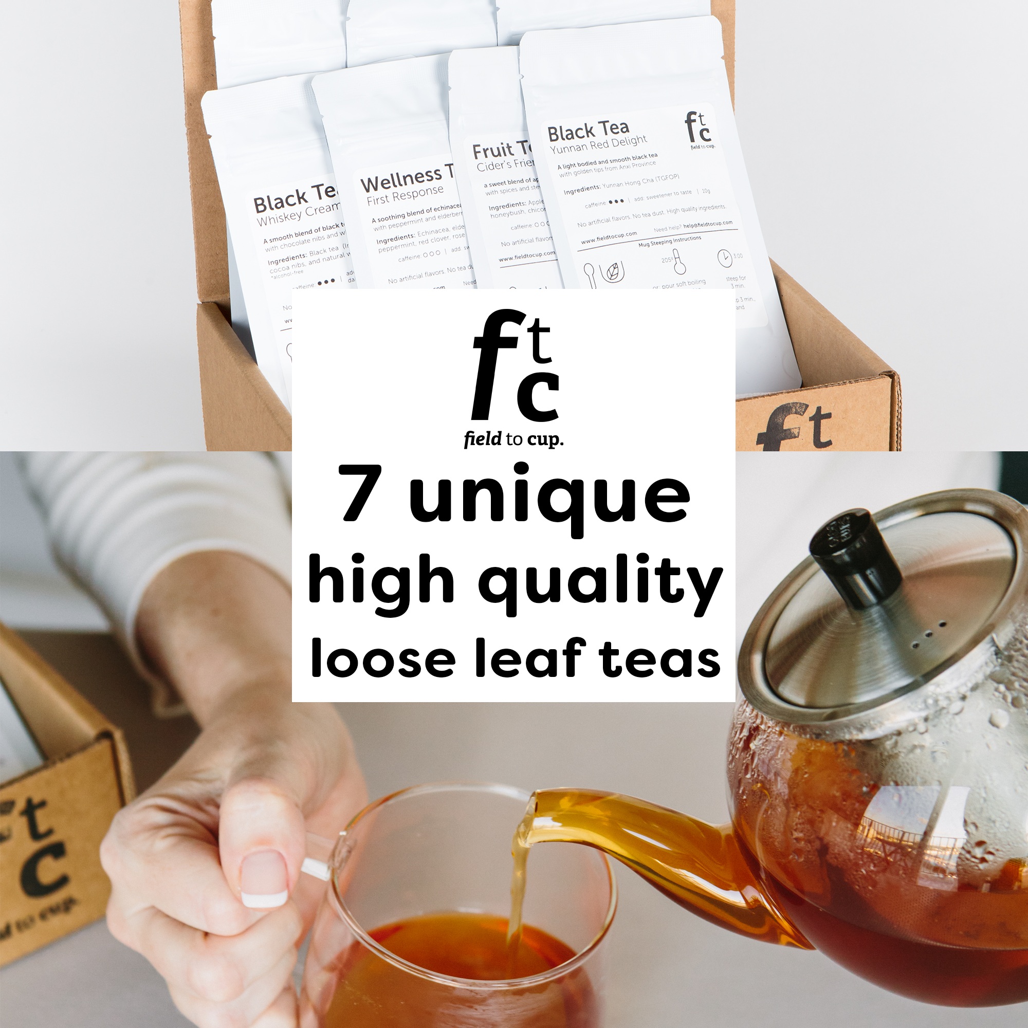 Field to Cup Tea Discovery Box - 7 high quality loose leaf teas - 35+ cups (2.5oz)