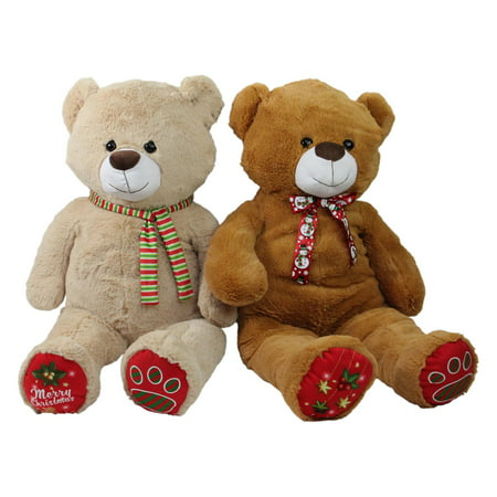 Northlight Super Soft Plush Brown and Beige Christmas Stuffed Bear Figurine - Set of