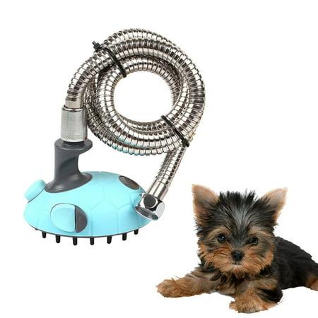 dog grooming shower heads mobile dog grooming Bath Massager Handheld Sprayer for Dogs Pet dog groomer dog shampoo dog wash Shower Bath Multifunctional Blue Medium with Stainless Steel Hose ()