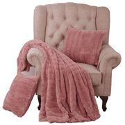 """Home Soft Things Rabbit Faux Fur Throw & Pillow Shell Combo, 50"""" x 60"""" / 18"""" x 18"""""""