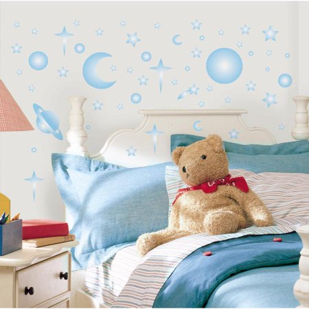 GLOW IN THE DARK CELESTIAL STARS & PLANETS 258 WALL DECALS Kids Room Decor - Glow In The Dark Wall Decals