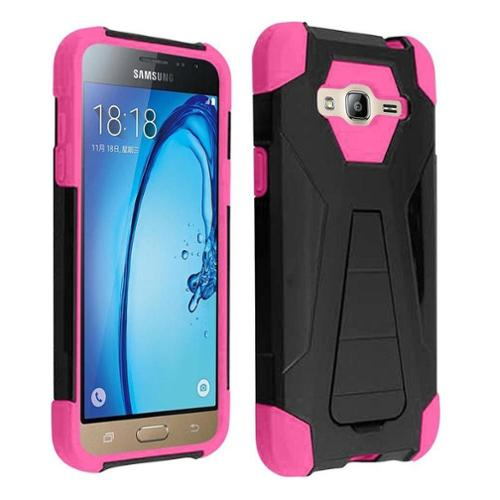 Insten Hard Hybrid Plastic Silicone Cover Case w/stand For Samsung Galaxy E5 - Black/Pink