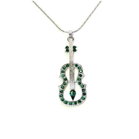 Necklace Violin Viola Cello Fiddle Music Emerald Color Green Pendant - Pendant Charm Music