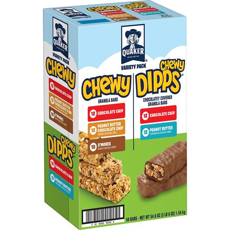 - Quaker Chewy Granola Bars and Dipps Variety Pack, 58 Count