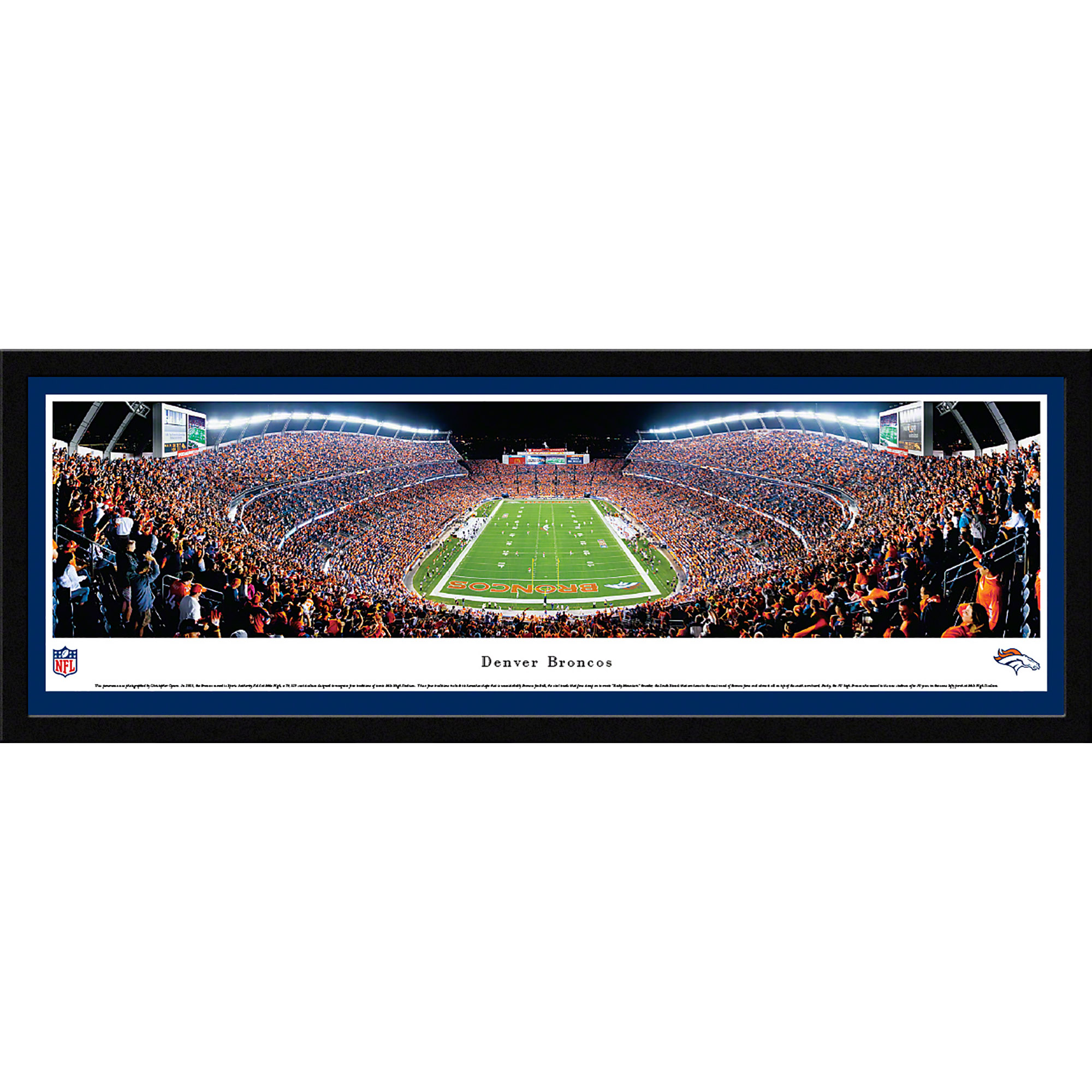 Denver Broncos - End Zone at Sports Authority Field at Mile High - Blakeway Panoramas NFL Print with Select Frame and Single Mat