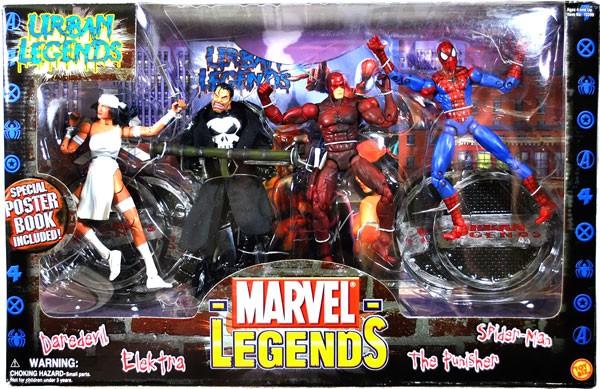 Marvel Legends Urban Legends Action Figure 4-Pack [Daredevil, Elektra, Punisher & Spider-Man] by