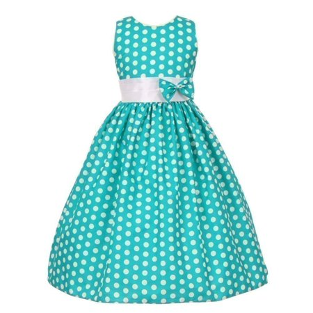 Tea Girl Dresses (Little Girls Teal White Polka Dot Allover Bow Accented Dress)
