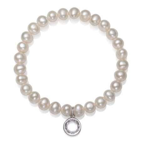 Cultured Freshwater Pearl and Cubic Zirconia April Birthstone Charm Bracelet, 7.5