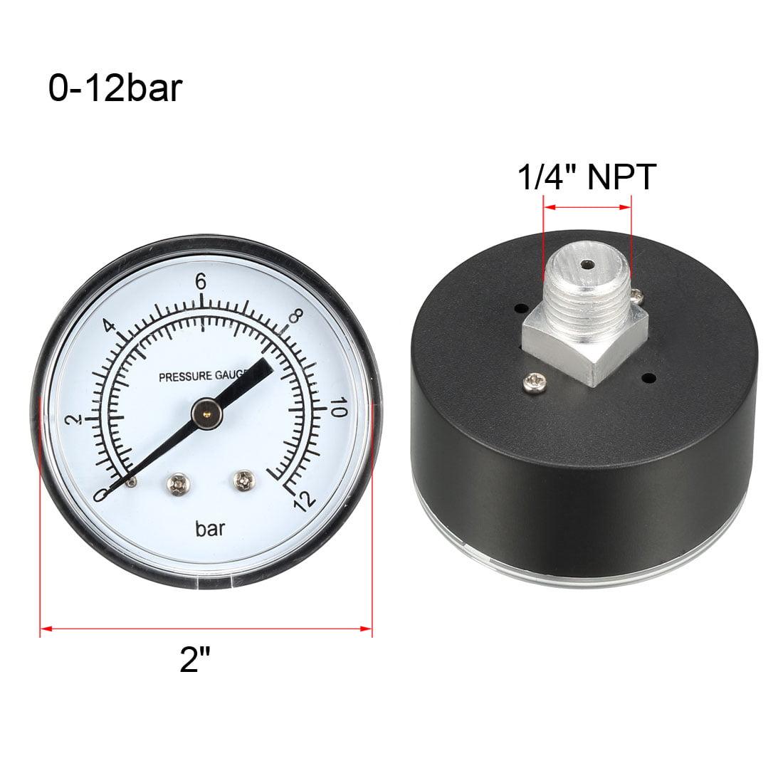 """Pressure Gauge , 0-12 BAR Dual Scale 2"""" Dial Display , 1/4"""" NPT - image 3 of 4"""