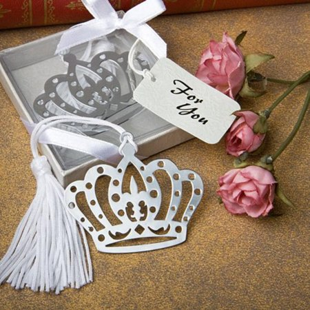 Crown design bookmark favors (Set of 12), Packaged in a clear topped box with a silver base with an embossed rose design. By Baby Shower Gifts Wedding Favors