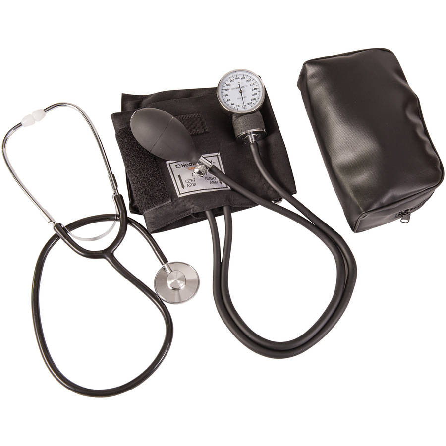 "HealthSmart Manual Blood Pressure Cuff with Aneroid Sphygmomanometer and Stethoscope Kit, Portable Blood Pressure Monitor with Large Adult Cuff and Carrying Case, 10"" to 14"", Black"