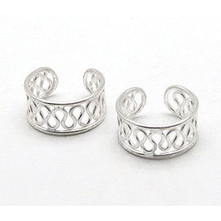 Sterling Silver Coiled Wirework Ear Cuff Pair - Sterling Silver Ear Cuff