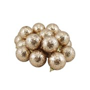 """24ct Gold Shatterproof Sequin Finish Christmas Ball Ornaments 2.5"""" (60mm)"""