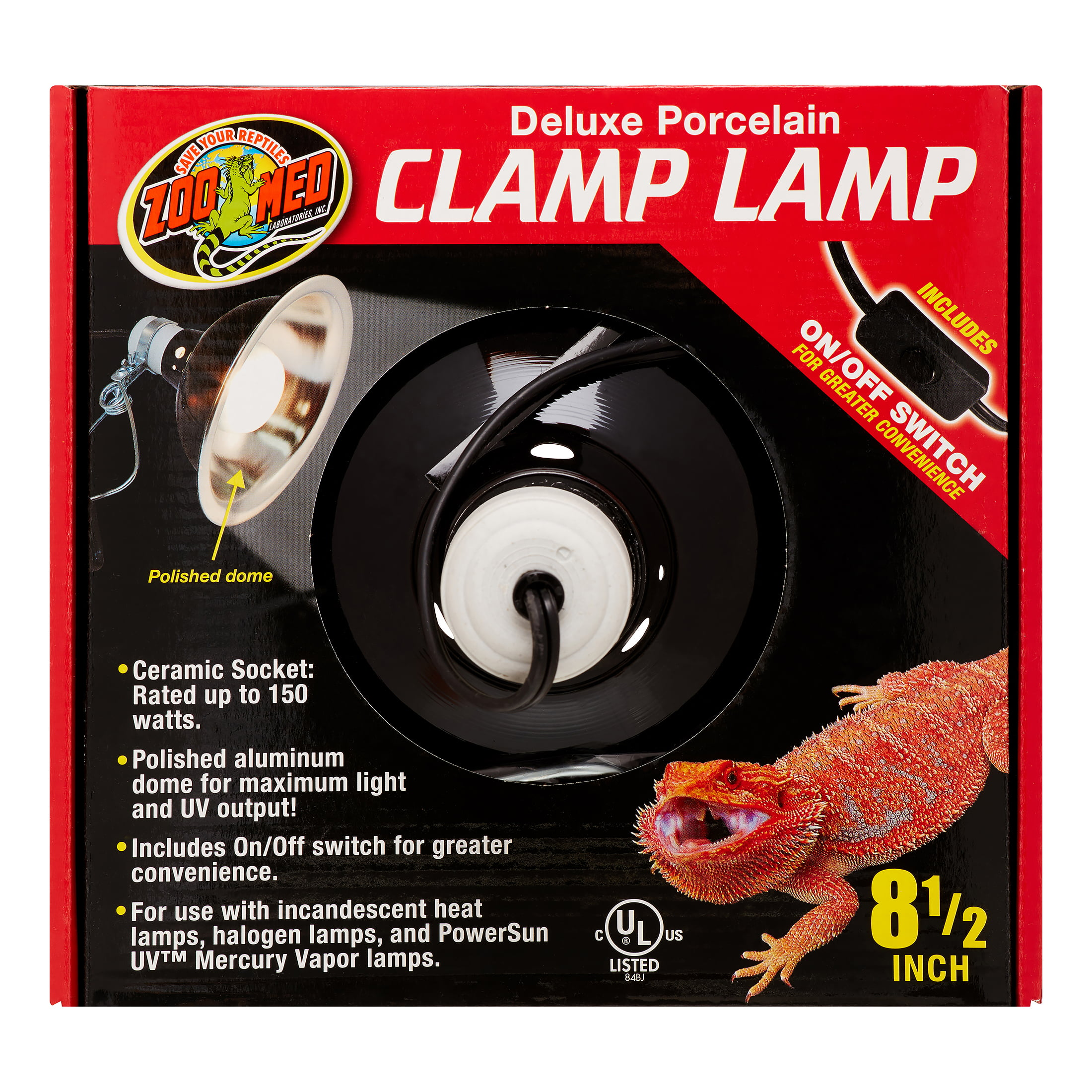 Zoo Med Deluxe Porcelain Clamp Lamp, 8.5\ by ZOO Med LABORATORIES INC
