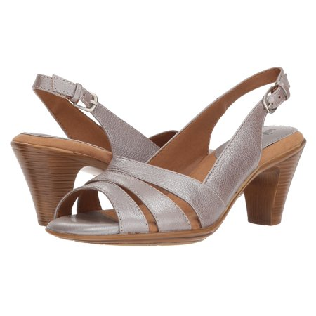 SoftSpots Neima Womens Silver Leather Open Toe Comfort Slingbacks Sandals