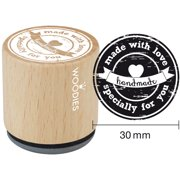 """Woodies Mounted Rubber Stamp 1.35""""-Made With Love Specially For You"""