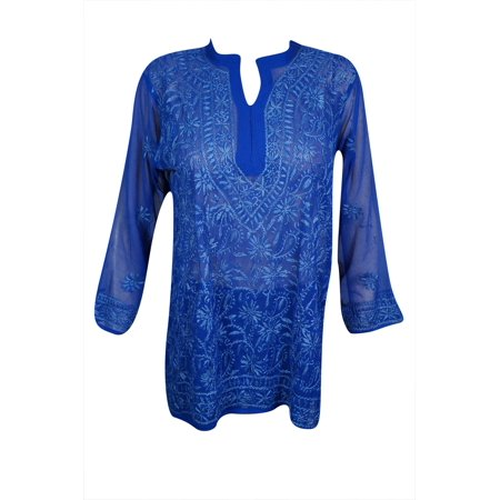 Mogul Womens Beautiful Royal Blue Floral Hand Embroidered Tunic Blouse Long Sleeves Georgette Sheer Kurti Cover Up Top Dress (Floral Georgette Blouse)
