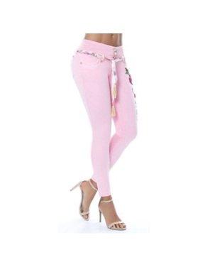 Women's Fashion Waistband Floral Print Jeans Denim Skinny Long Pants Plus Size