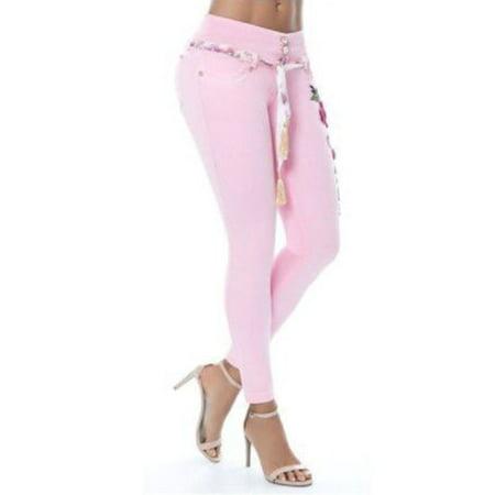 caab01dc1879 Freshlook - Women's Fashion Waistband Floral Print Jeans Denim Skinny Long Pants  Plus Size - Walmart.com