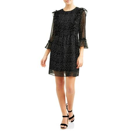 - Juniors Polka Dot Ruffled Sleeve Dress